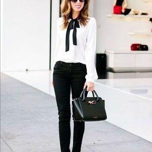 Zara bib front shirt with bow detail